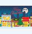 shopping street at the christmas winter night vector image vector image