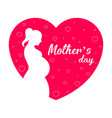 silhouette of a mom in a heart mother day vector image
