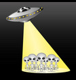 space aliens in the rays of the spaceship vector image