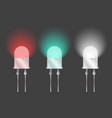 three diodes of different colors on a gray vector image