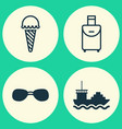 tourism icons set collection of trip handbag vector image vector image