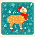 vintage card alpaca in a christmas boots hat and vector image