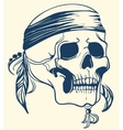 Vintage Skull with feathers vector image