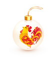 white realistic christmas ball with fiery rooster vector image