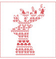 Winter pattern in reeindeer head shape shape vector image vector image