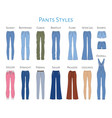 women s pants collection sketch vector image vector image
