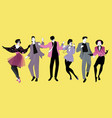 young people dancing new wave music wearing vector image