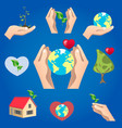 green icons save planet object vector image