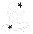 a girl with pigtails and bobby pins vector image