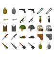 army and armament cartoonmonochrom icons in set vector image vector image