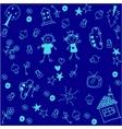 blue kids happy doodle art vector image