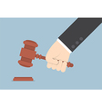 Businessman hand knocking judge gavel vector image