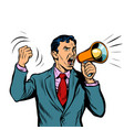 businessman with megaphone isolate on white vector image vector image