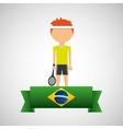cartoon tennis player brazilian label vector image