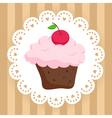 Chocolate cupcake with cherry on cute napkin vector image vector image