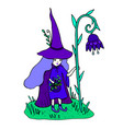 colorful little sorceress with a staff in form vector image vector image