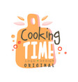 cooking time logo design kitchen emblem with vector image vector image