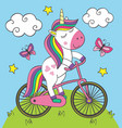 cute little unicorn rides bicycle vector image