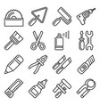 diy hand tools icons set line style vector image