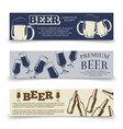Drink horizontal banners template with beer mugs vector image