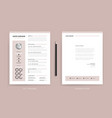 elegant cv resume and cover letter template vector image vector image