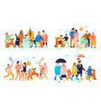 family seasons flat set vector image vector image
