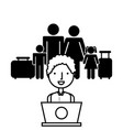 family with travel suitcases vector image vector image