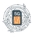 flat 5g sim card with microelectronics vector image vector image