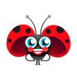 flirtatious flying little ladybug on white vector image vector image
