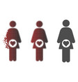 fragmented dotted halftone pregnant woman icon vector image vector image