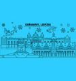 germany leipzig winter holidays skyline merry vector image vector image