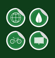 green energy round stickers collection vector image