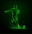green neon soccer striker vector image