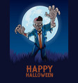 halloween design with zombie in cartoon style vector image