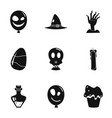 halloween party icon set simple style vector image vector image