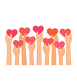 hands holding hearts high up vector image vector image