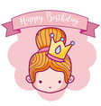 happy birthday with cute princess card vector image vector image