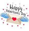 happy valentine card with flying envelope vector image vector image