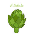 healthy artichoke cartoon flat style vector image vector image