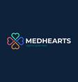 heart care logo cross medical with heart shape vector image