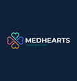 heart care logo cross medical with shape vector image