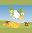 jug milk and dairy products on background of vector image vector image