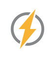 lightning bolt with circle logo unique vector image