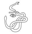 line art scared woman eye and a snake