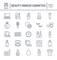 makeup beauty care flat line icons cosmetics vector image