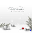 merry christmas design with xmas balls and pine vector image vector image