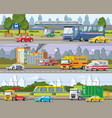 modern urban traffic horizontal banners vector image vector image
