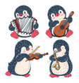 penguins with musical instruments vector image vector image