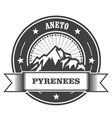 Pyrenees Mountains - Aneto peak round stamp vector image vector image