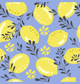 seamless background with lemon pattern vector image vector image
